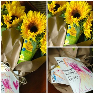 Easy Teacher Gift: Sunflowers and Sunscreen