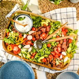 This gorgeous BLT Platter Salad is a showstopper for picnics and potlucks and also makes a perfect summer weeknight meal. Arranging on a platter keeps the salad from wilting and picky eaters can build their perfect plate!