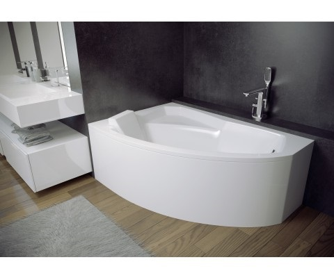 Offset Corner Bath RIMA SPACE SAVER 1300 x 850mm with Front Panel and Legs LEFT HAND