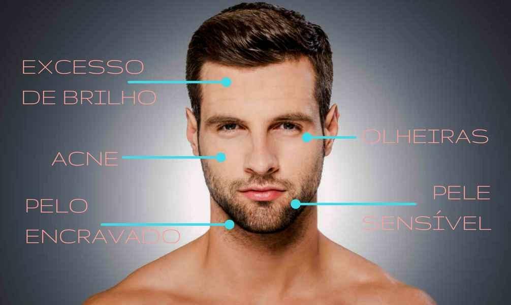 Homem No Espelho - Problemas de pele masculina - acne - excesso de brilho - pelo encravado - olheiras - pele sensível