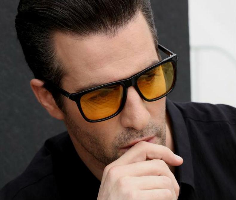 Homem No Espelho - Cores das lentes dos óculos escuros - de sol - lente amarela