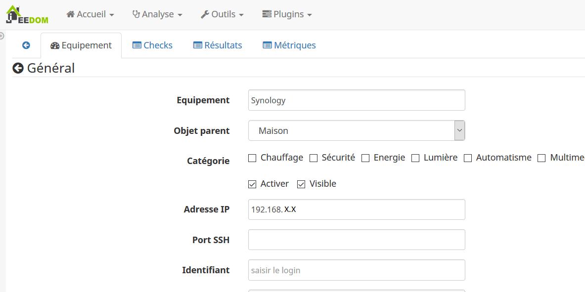 Déclaration d'un équipement dans NagiosChecks sur Jeedom