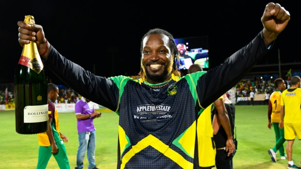 Chris Gayle is Celebrating Victory of Tallawahas