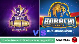 Pakistan Super League 2019 Match 29 Karachi Kings vs Quetta Gladiators