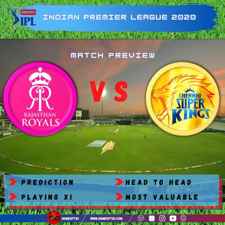 IPL 2020 Match 4 Rajasthan Royals vs Chennai Super Kings