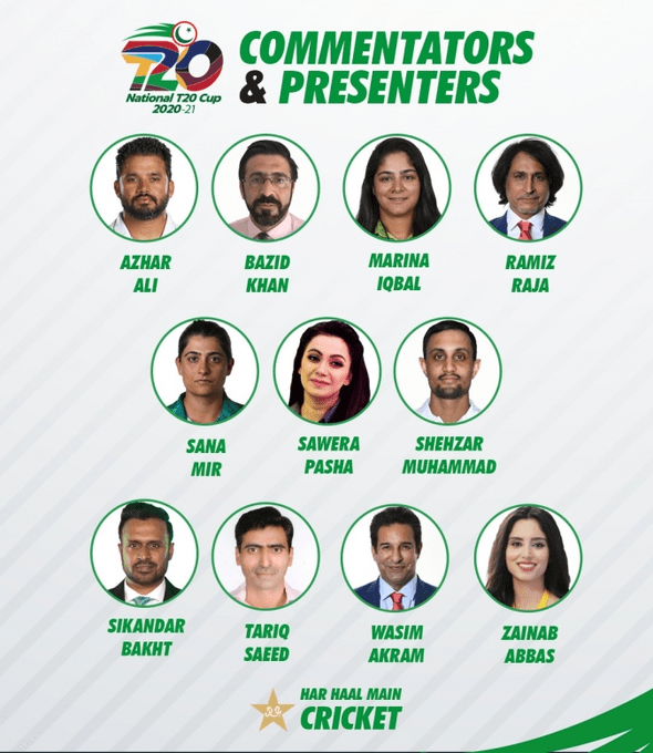 List of commentators for National T20 Cup 2020