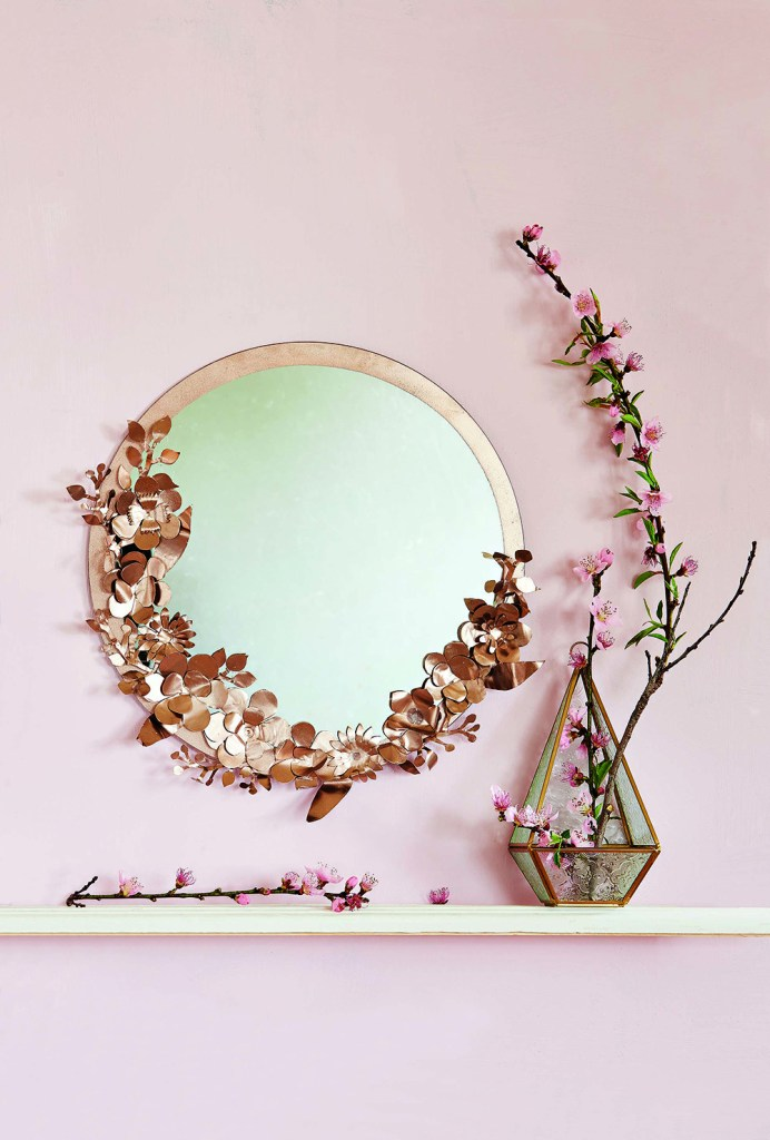 craft metal floral mirror