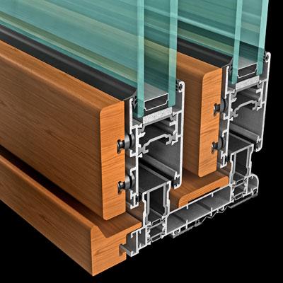 Sezione alluminio legno dello scorrevole