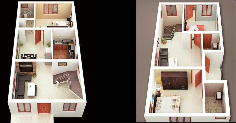 3 Bed Room House Design With 3D Plan In 1350 Sqft Home Pictures