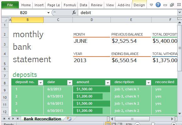 A, b, c, d, e, f, g. Template Rekonsiliasi Bank Bulanan Untuk Excel