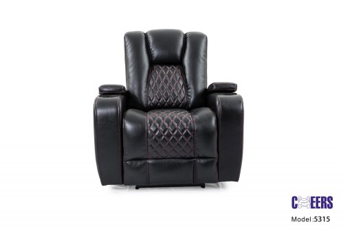 Cheers Black Fabric Dual Power Chair