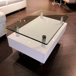 Glass Top and White Base with Drawers White Coffee Table  D186-32