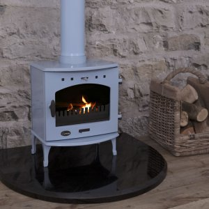 Black Granite Curved Stove Hearth Carron