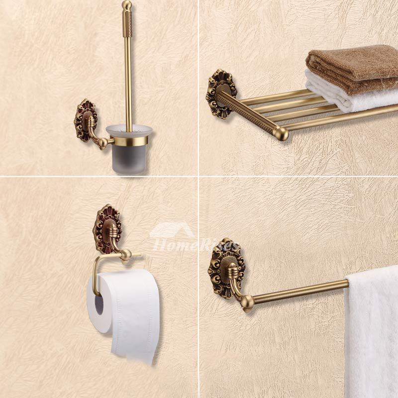 Golden vintage Antique Brass Bathroom Accessories Sets