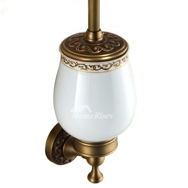 Vintage Golden Antique Brass Toilet Brush Holder