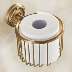 Antique Brass Kitchen Hardware Trashcans Mz Gold Brushed Wall Mounted Toilet Paper Holder