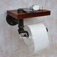 Black Unique Antique Bronze Rustic Wooden Toilet Paper Holder