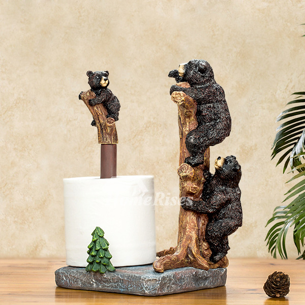 brown kitchen sink wooden ladder back chairs unique creative free standing black bear toilet paper ...