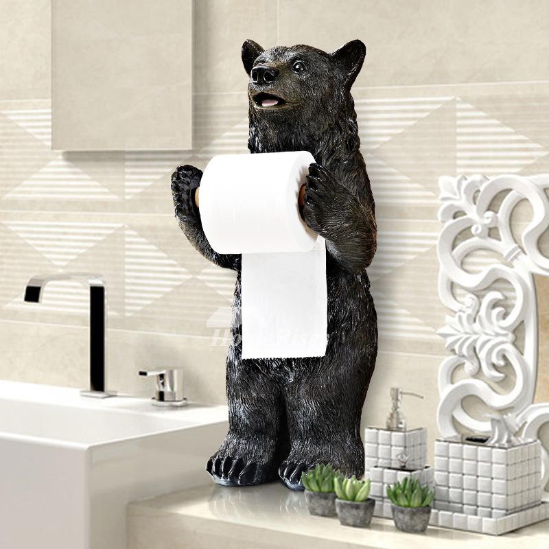 Funny Black Bear  Alligator Free Standing Toilet Paper Holder