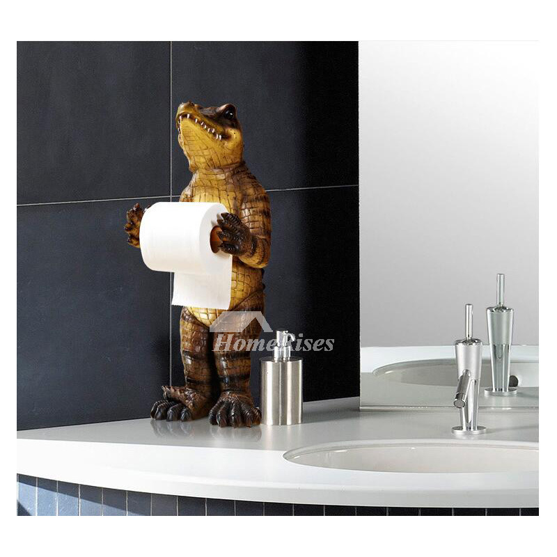 Funny Black Bear  Alligator Free Standing Toilet Paper Holder