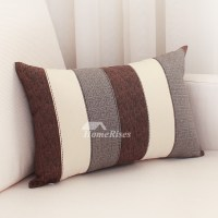 Modern Striped Cotton Couch Grey And White Throw Pillows