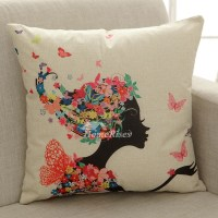 Cool Designer Cartoon Linen Couch Cream Throw Pillows