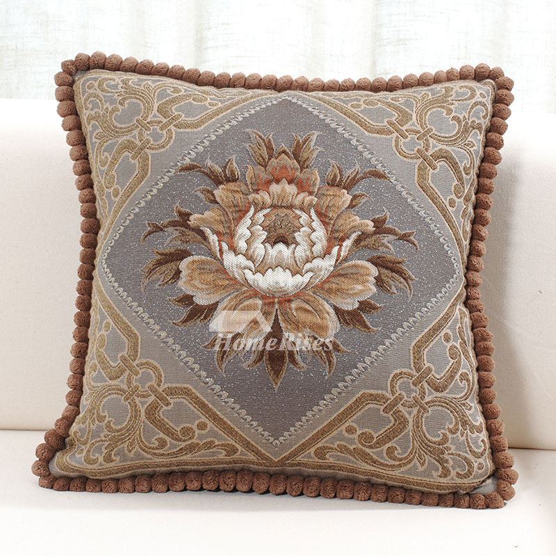Country luxury Brown Floral Velvet Couch Best Throw Pillows
