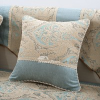 Country Floral Blue Velvet Throw Pillows For Couch