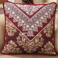 luxury Vintage Floral PP Cotton Burgundy Throw Pillows
