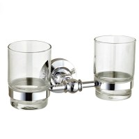 Glass Toothbrush Holder Double Silver Wall Mount