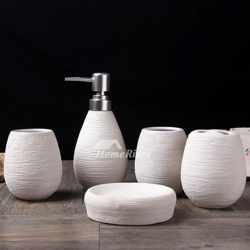 5 Piece Brushed Ceramic Bathroom Accessories Set