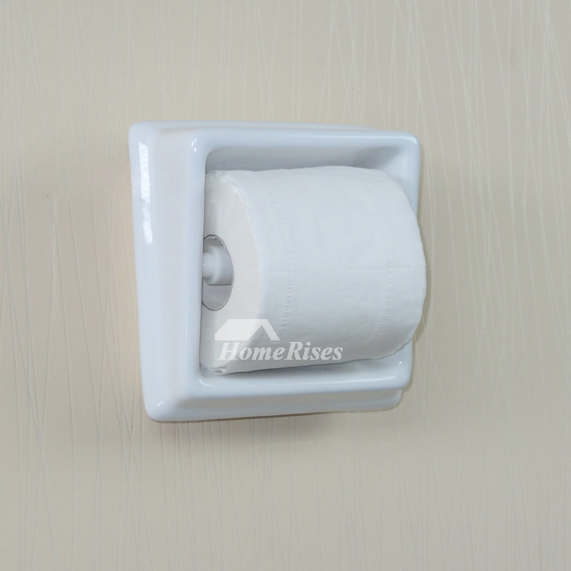 Ceramic Toilet Paper Holder Recessed Square Shaped White