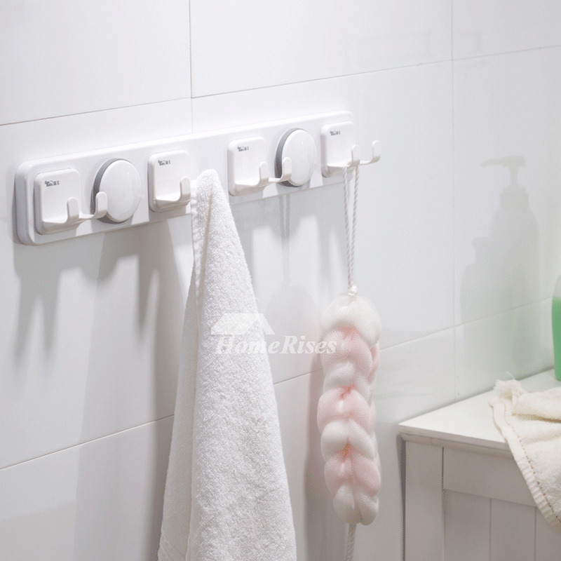 Designer Suction Cup Bathroom Towel Hook White ABS Plastic
