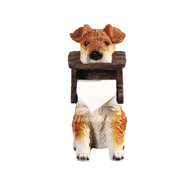 Animal Toilet Paper Holder Dog Shaped Carved Free Standing