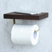 Toilet Paper Holder With Shelf Wall Mount Wood Brown/Natural