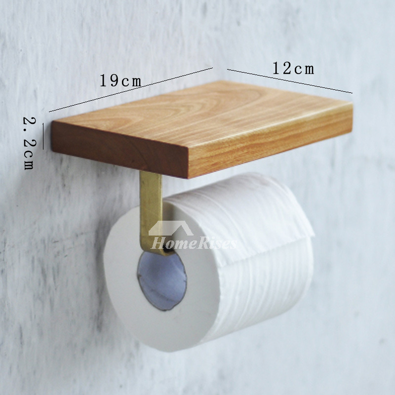 Toilet Paper Holder With Shelf Wall Mount Wood BrownNatural