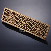 Floor Mounted Rectangular Shower Drains Hollow Design Brass