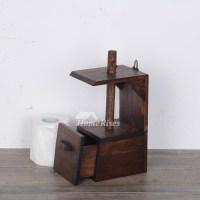 Asian Teak Toilet Paper Holder Bathroom Hanging