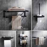 Modern 5-Piece Black Brass Bathroom Hardware Sets Oil ...