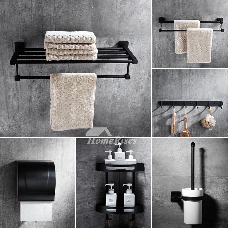 6Piece Black Stainless Steel Wall Mounted Bathroom Accessories Sets