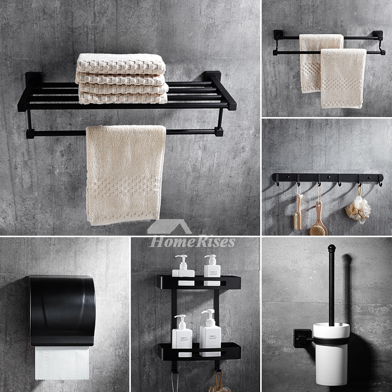 6Piece Black Stainless Steel Wall Mounted Bathroom