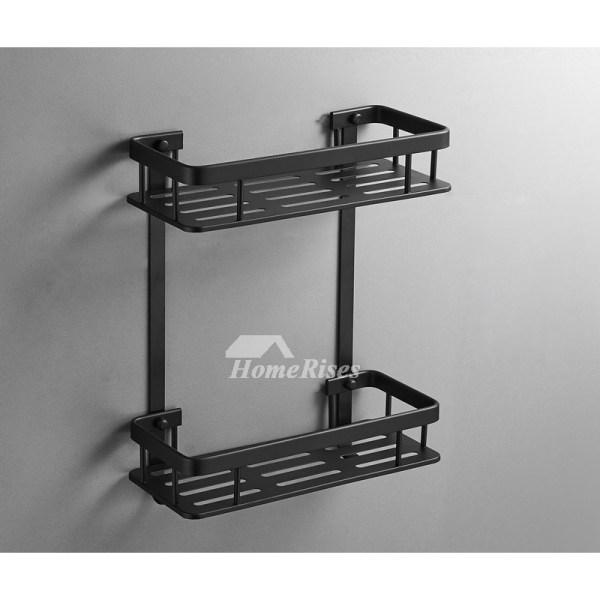 Rectangular Shaped Small Bathroom Wall Shelf Black