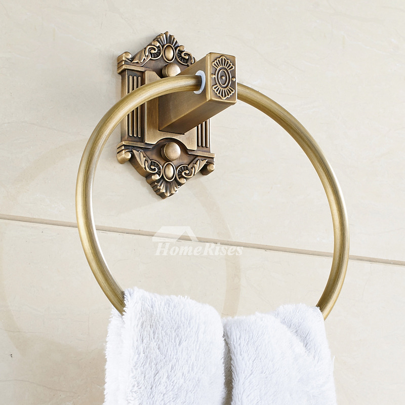 kitchen door hinges sliding cabinet doors rustic antique brass round shaped ring towel holder