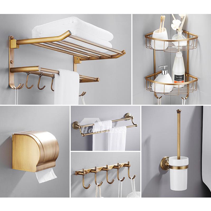 6Piece Antique Brass Wall Mount Gold Bathroom Accessories Set