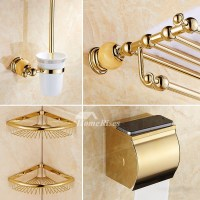 Polished Brass Wall Mount Marble Gold Bathroom Accessories ...