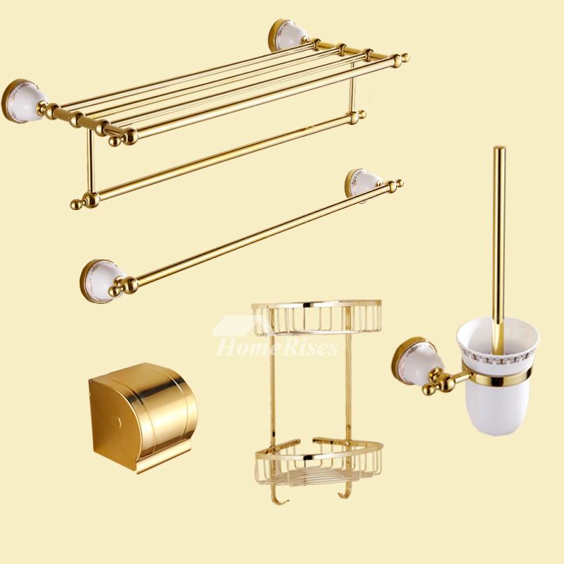 polished brass luxury bathroom accessories set ceramic