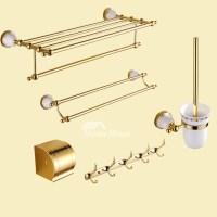 Good Polished Brass Luxury Bathroom Accessories Set Ceramic