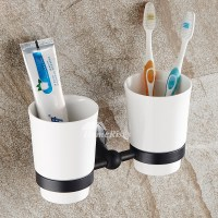 Ceramic Toothbrush Holder Wall Mounted Bathroom Double