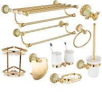 Polished Brass Bathroom Accessories Set Wall Mount Bathroom