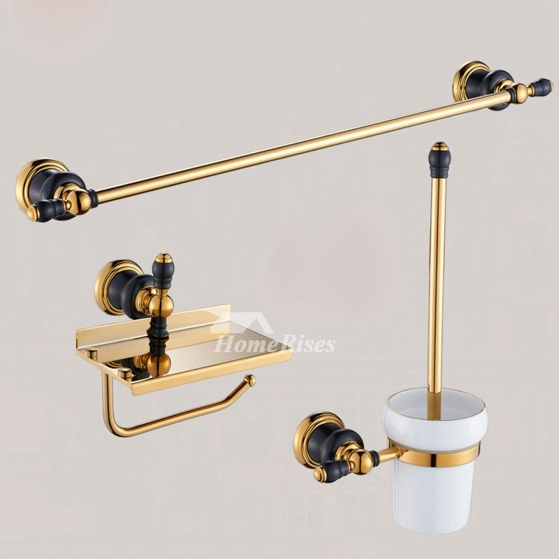 Luxury Black And Gold Bathroom Accessories Polished Brass Wall Mount